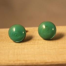 Calea Artesaría - Pendientes de Botón Verde en cristal de Murano colección Aia